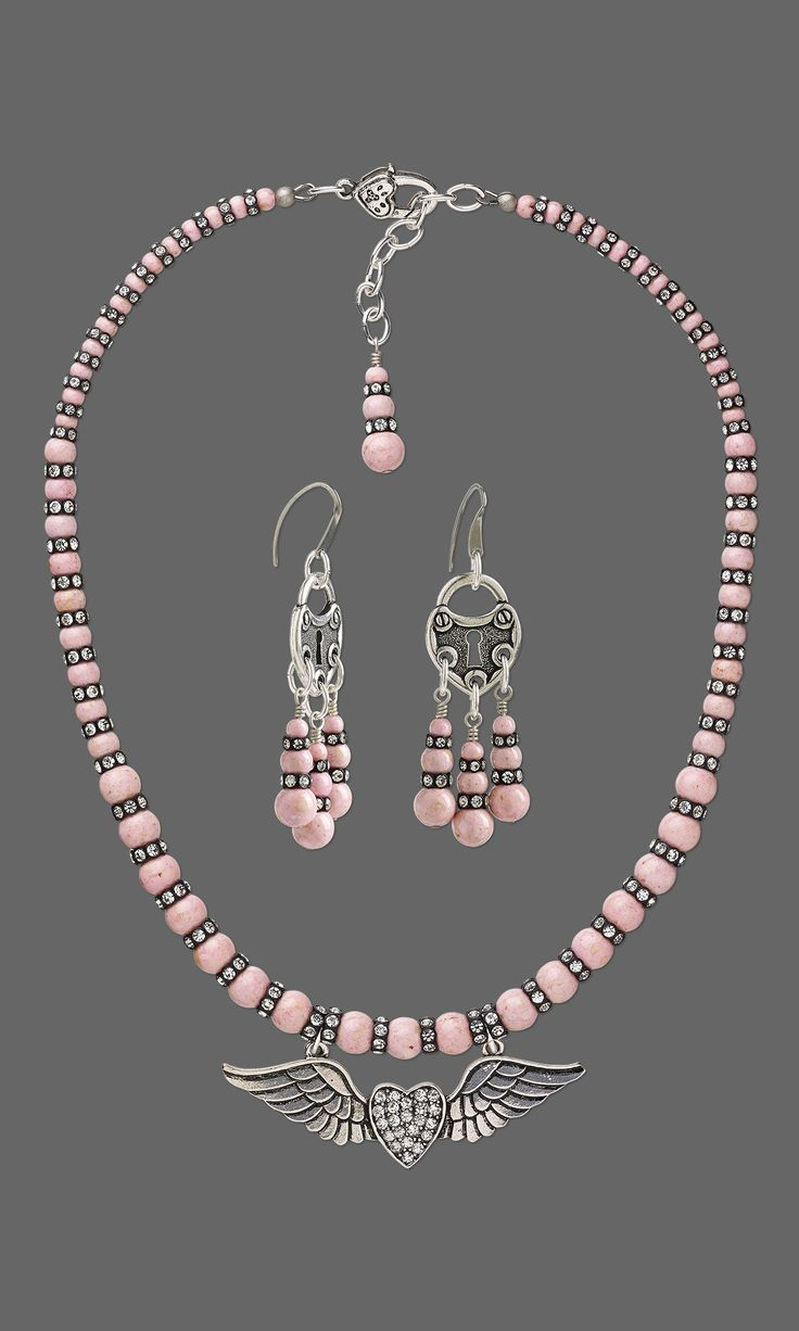 Jewelry Design - Single-Strand Necklace and Earring Set with Riverstone Gemstone Beads, Swarovski Crystal and Glass Rhinestone and Antiqued Silver-Finished Steel and Pewter Focal - Fire Mountain Gems and Beads