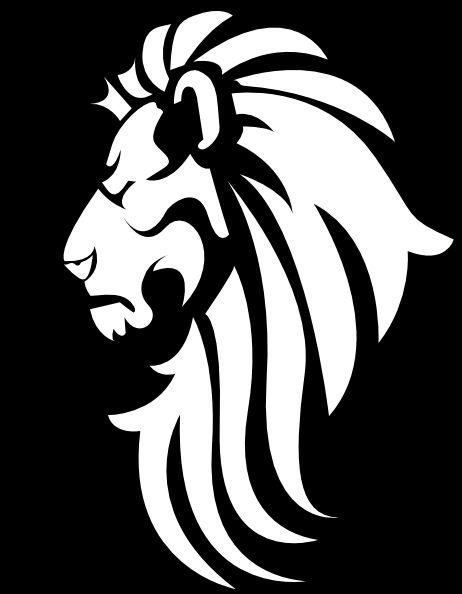 Lion+Silhouette+Clip+Art | Black & White Lion Head clip art