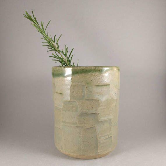 Madebypowley Modern Green Faceted Vase Handmade Pottery Vase