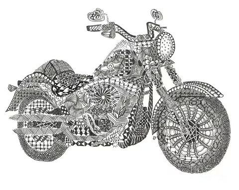 motorcycle abstract doodle zentangle coloring pages colouring adult detailed advanced printable kleuren voor volwassenen coloriage pour