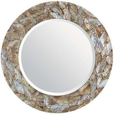 "Crackled Mother-of-Pearl 31"" Round Mirror 