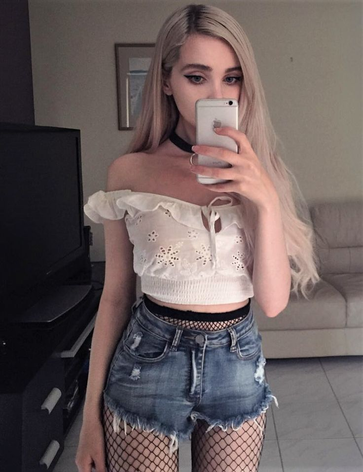 Baby Accessories White off the shoulder crop top with denim shorts & fishnet tights by b4by.j...