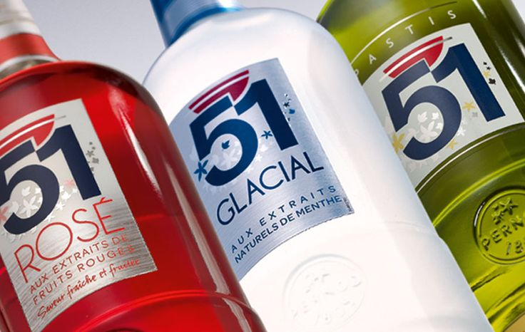 Pastis 51 by CBA France #design #branding #packaging #identity #logo #bottle #alcohol #spirit #anisé #rosé #mint #piscine #iconic #drink