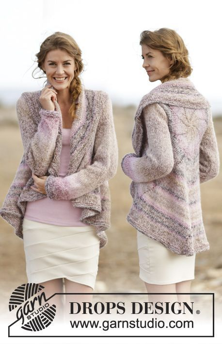 """Knitted DROPS jacket worked in a circle in """"Delight"""" and """"Brushed AlpacaSilk"""". Size: S - XXXL. ~ DROPS Design"""