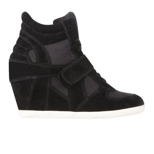 This black Ash Bowie trainer is a darker version on a model's fave: http://www.allsole.com/womens-footwear-trainers/ash-women-s-bowie-suede-wedged-trainers-black/10877399.html?affil=thgsocial