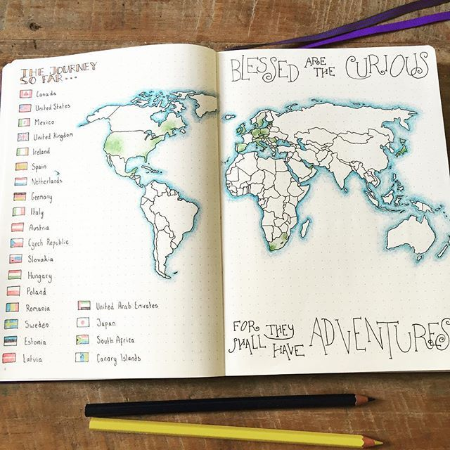 7 best travel journal inspiration images on pinterest bujo ive had so much fun colouring in all the tiny flags hoping i get world mapsbullet journal sciox Images