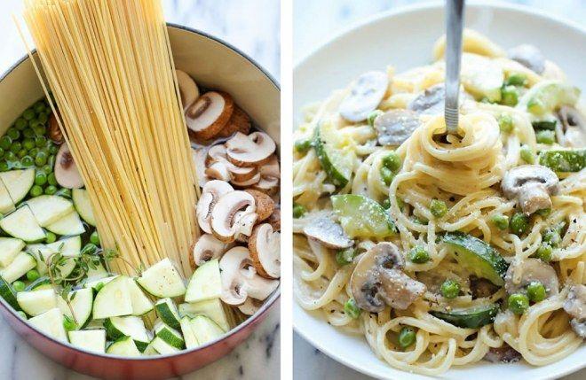 One pot pasta courgettes champi crème