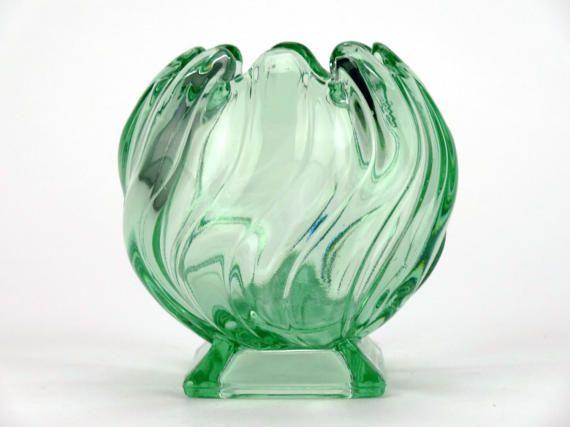 Art Deco decor 1930s glass vase Green vase Pressed glass