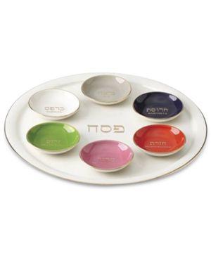 kate spade new york Oak Street 7-Pc. Judaica Seder Plate & Bowl Set - Ivory/Cream