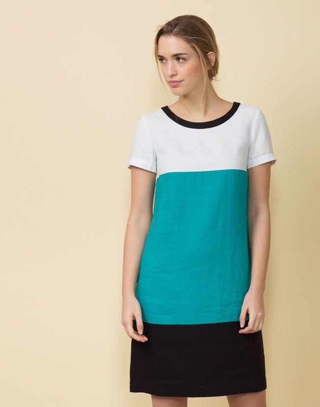 Robe turquoise color block en lin Omega - LAGON - 123