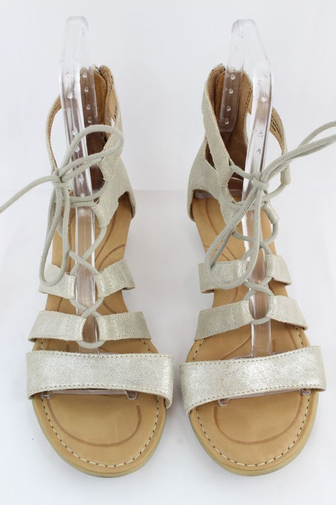 db7fd5151254f Born Metallic Gold-Tone Leather Strappy Wedge Back Zip Lace Up Sandals Size  9M