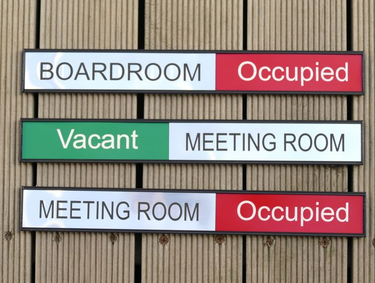 Meeting room signs custom engraved room name as slider with room status names engraved to order