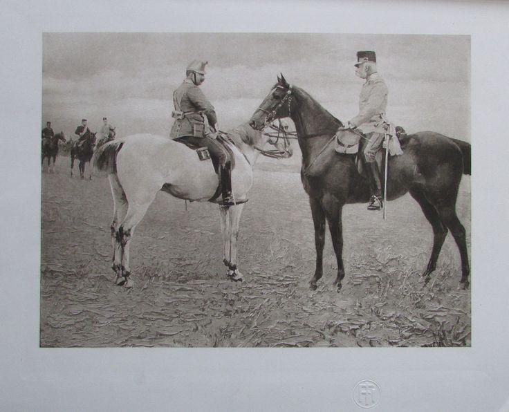 Franz Joseph I und Wilhelm II auf dem Manöverfelde Totis - Heliogravur aus 1908