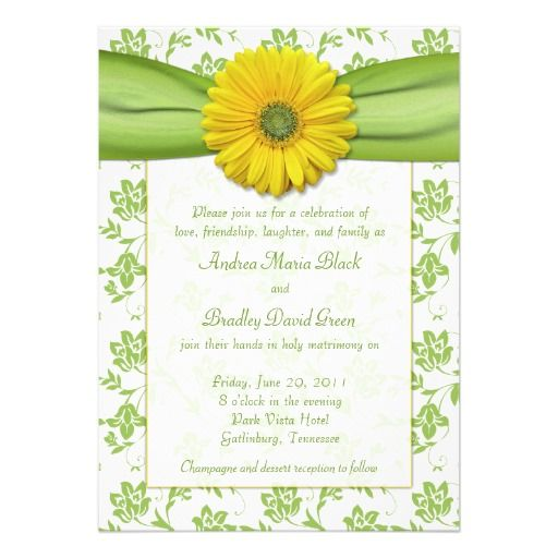 yellow green damask daisy wedding invitation - Daisy Wedding Invitations