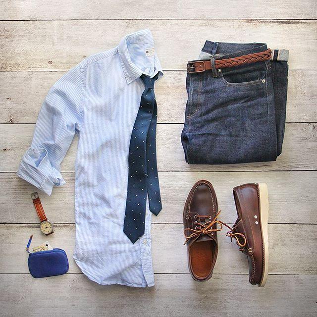 Summer prep. Shirt: @jcrew Wallet/Belt: @caputoandco Tie: @thetiebar Shoes: @rancourtoco Watch: @tsovet Denim: @apc_paris