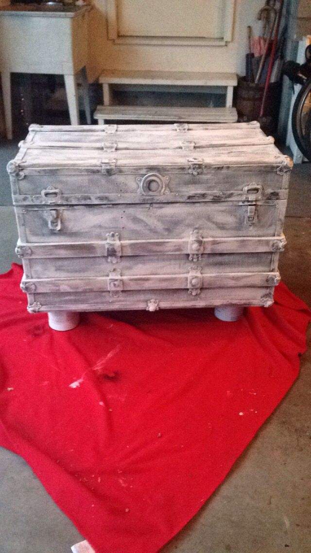 Chalk painted trunk