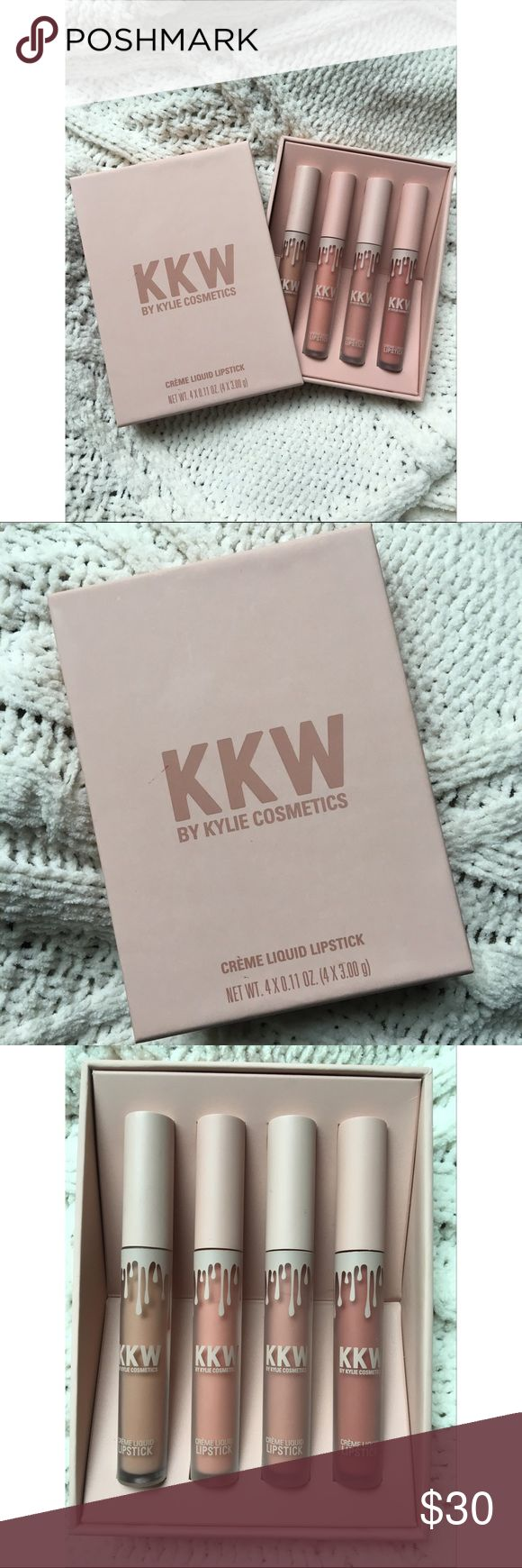 KKW by Kylie Cosmetics 4 crème liquid lipsticks in nude tones. Only swatched. I just never seem to wear these! Beautiful lipsticks purchased from Kylie's website. Feel free to ask any questions 💗 Kylie Cosmetics Makeup Lipstick