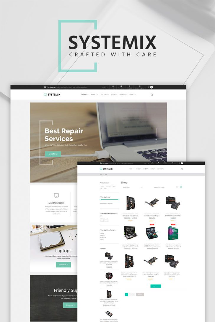 Computer Repair WooCommerce Theme, crafted for electronic parts stores is the best solution for promoting your services on the web. Its conversion-optimized design will catch the attention of visitors, make them curious to learn more about your goods and seamlessly guide them to complete the purchase. One of the powerful tools, which will help you to convert visitors into customers, is newsletter subscription, which is presented in a form of a pop-up. Thanks to Ajax Cart users will be able to ad