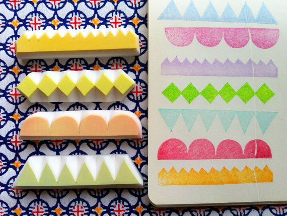 geometric pattern stamps. border edge hand carved by talktothesun