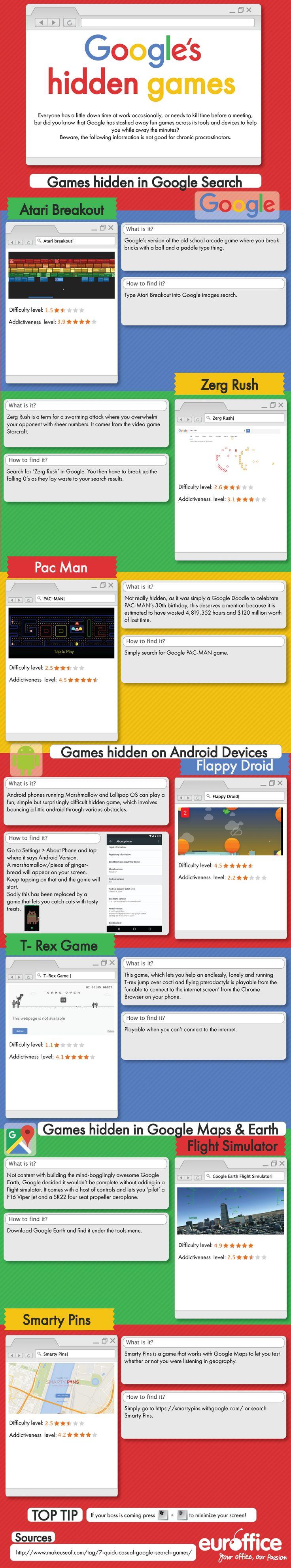 Hola: Una infografía sobreLos juegos ocultos en Google. Vía Un saludo