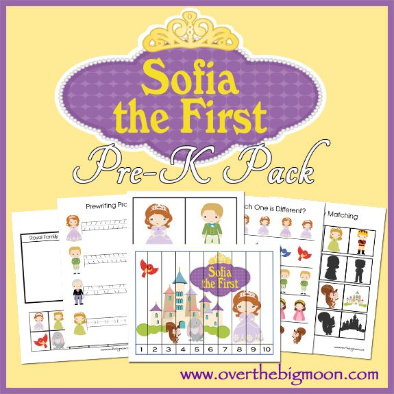 Sofia the First Pre-K Pack | Over The Big Moon - Almost 30 pages of Sofia the First learning and fun!  Your Pre-K and K aged kids will love this!  From www.overthebigmoon.com!