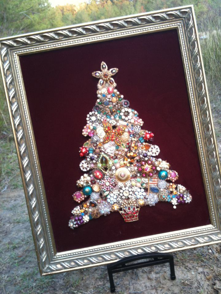 My favorite decoration for the holidays - my grandpa cut out a wooden tree and my grandma decorated it with sparkly costume jewelry that belonged to her and her friends. It hung in her house all year long and I always loved it. A few years ago, she gave it to me as a gift that i will always treasure :-)))Years Ago, Trees Decor, Favorite Decor, Cute Ideas, Costumes Jewelry, Cut Out, Christmas Trees, Wooden Trees, Jewelry Trees
