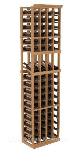 """Five Star Series: 4 Column 68 Bottle Display Wine Cellar Rack in Pine with Oak Stain +Satin Finish by Wine Racks America®. $428.57. Made from eco-friendly wood sources in sustainable forests. 3 ¾"""" wide cubicles for bottle access.. 15° industry-leading high reveal display. Money Back Guarantee + Lifetime Warranty. Bottle capacity: 68 bottles (750ml). Industry 1-1/2"""" toe-kick keeps your wine off the floor.. 11/16"""" wood thickness. Designed for 750ml wine bottl..."""