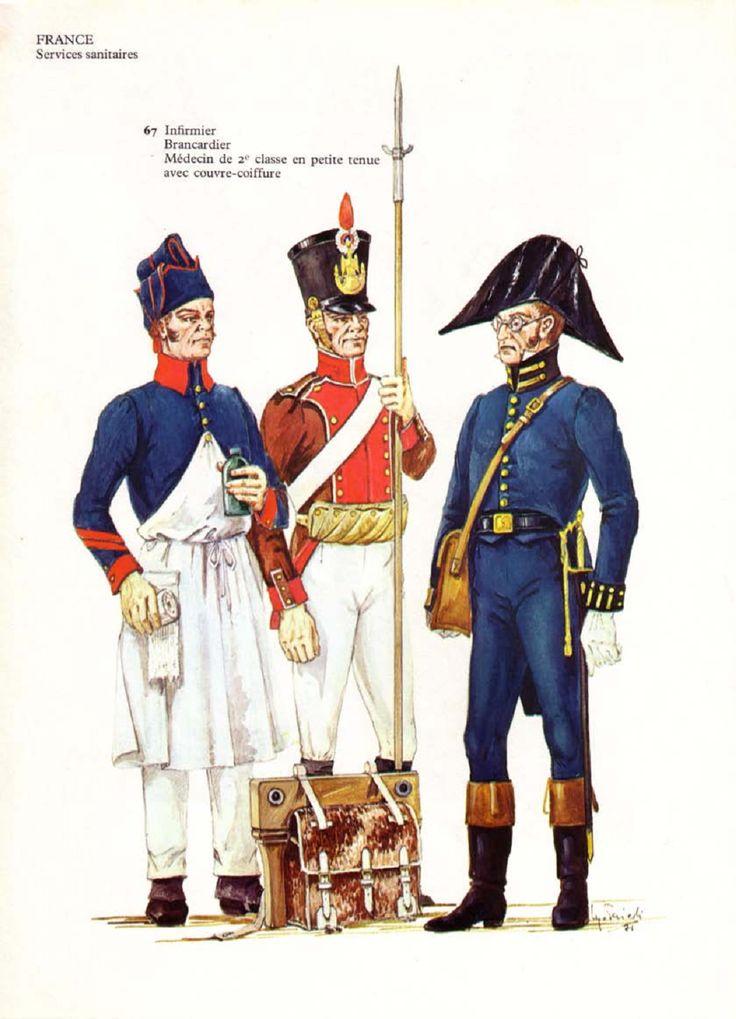 Infermiere, barelliere  e medico di 1 classe del servizio di sanità francese