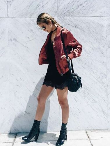 Red Leather Jacket | Lace Slip Dress | Patent Leather Boots | Small Black Purse