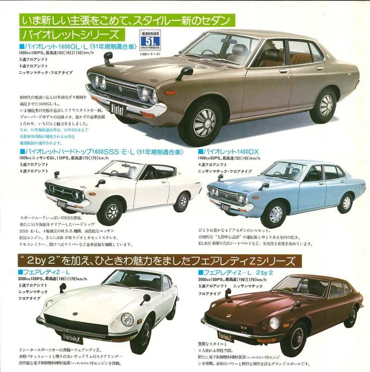 NISSAN VIOLET/FAIRLADY Z/BLUE BIRD ..,Japanese Brochure Car Catalog Vintage jl42