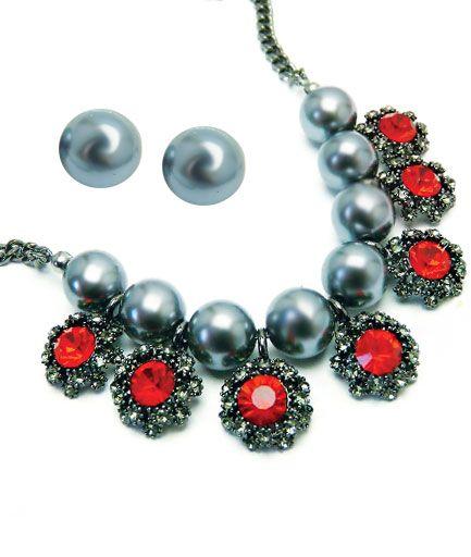 Set bijuterii din perle gri COD S2P9