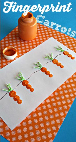 Fingerprint Carrot and Bunny Craft #Easter craft for kids | http://www.sassydealz.co...