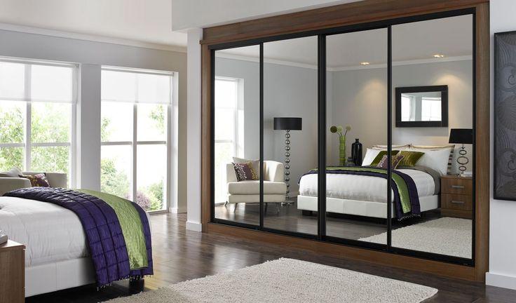 Mirrored sliding doors with black trim