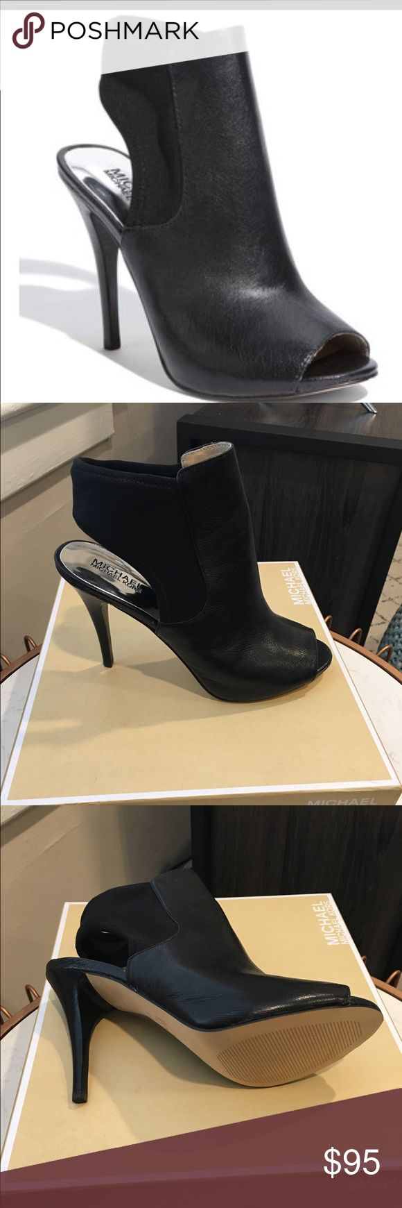 Micheal Kors Bootie Black MK: Tonne Black Bootie never worn! Clean soles. Size 10! In perfect condition. High stiletto heel, open toe and open sling back. Leather front! Perfect for so many looks! Michael Kors Shoes Ankle Boots & Booties