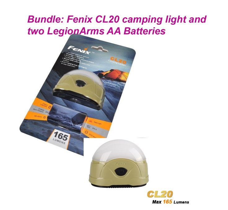 Fenix CL20 LED Lantern All-season Camping Light with two LegionArms AA Batteries. 165 Lumen max utilizing nine neutral white LEDs/two red LEDs with an even and smooth beam. White light with four output options and red light with two output options. Built-in hanging loop and magnet for easy attachment. Powered by one CR123A Lithium battery or two AA (Ni-MH, Alkaline) batteries. Bundle includes two LegionArms AA Batteries.