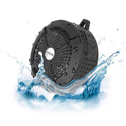 Photive Rain WaterProof Portable Bluetooth Shower speaker. Rugged Wireless Outdoor/Shower Speaker with Built in Microphone -