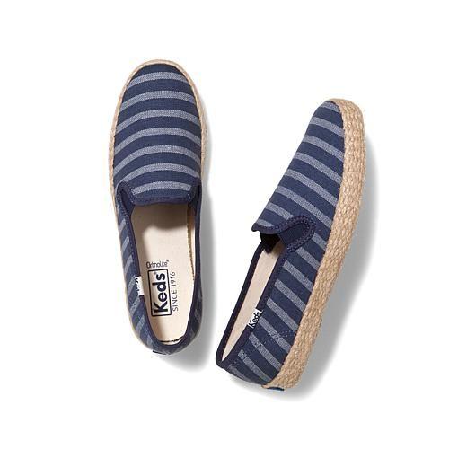 Keds Champion Breton Striped Slip-On Jute Sneaker - Cream Stripe
