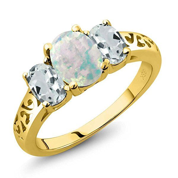 1.91 Ct Oval Cabochon White Simulated Opal Sky Blue Aquamarine 18K Yellow Gold 3-Stone Ring