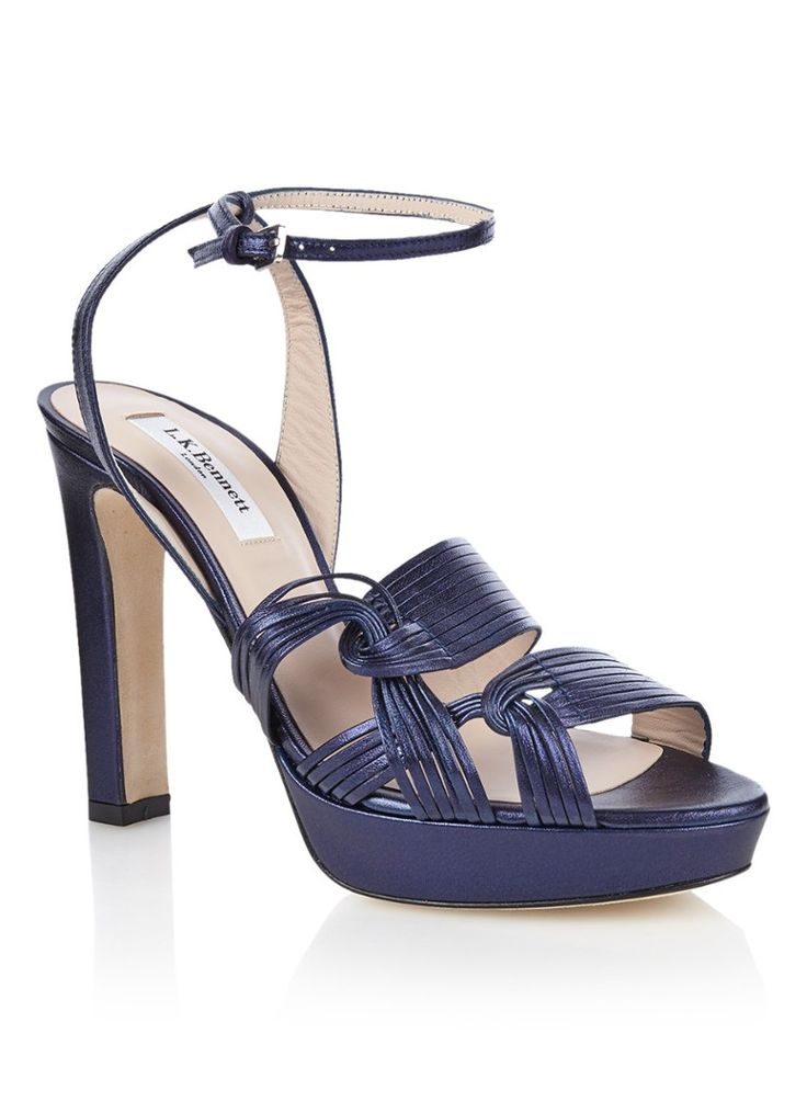 Leighton sandaal van leer met metallic finish l.k. bennett