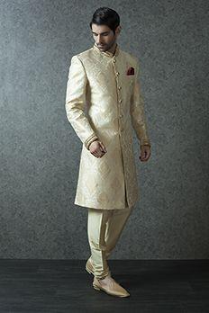 Pure brocade Sherwani embellished with zardosi and stone work rom #Benzer #Benzerworld #weddingwearformen #sherwani #jodhpurisuits