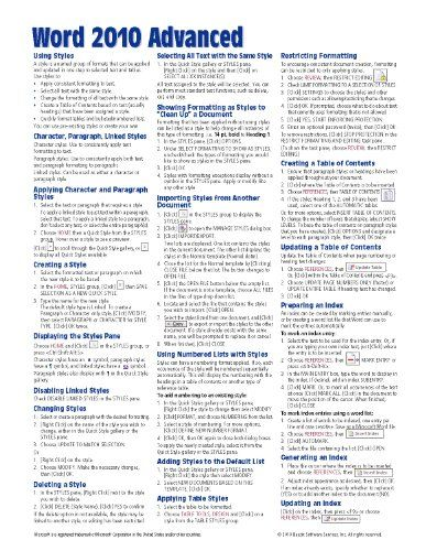 Microsoft Word 2010 Advanced Quick Reference Guide (Cheat Sheet of Instructions, Tips  Shortcuts - Laminated Card)