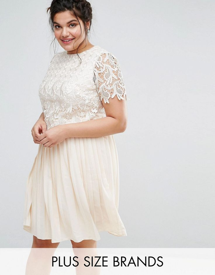 Little Mistress Plus Premium Lace Overlay Midi Dress With Pleated Skir