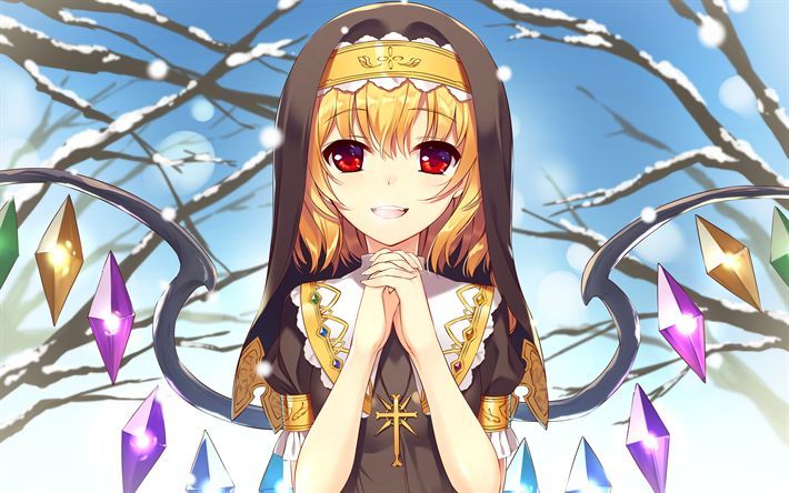 Herunterladen hintergrundbild flandre scarlet -, 4k -, anime-characters, touhou