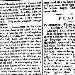 """John Haggerty appeared on summons to answer a charge of using abusive and insulting language to George Stanway. ..."" Gippsland Guardian, 2 Sep 1864, p. 2, 'Police: Palmerston -- Friday August 26th, 1864'."