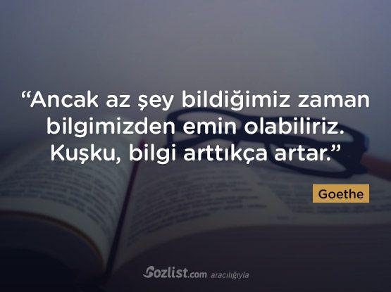 """""""Ancak az şey bildiğimiz zaman bilgimizden emin olabiliriz. Kuşku, bilgi arttıkça artar."""" #goethe #sözleri #yazar #şair #kitap #şiir #özlü #anlamlı #sözler"""