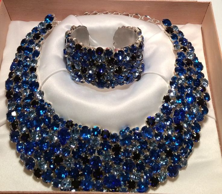Royal Blue Swarovski Crystal Statement Necklace