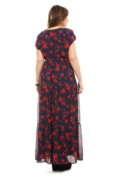 Azul marino y rojo Floral gasa vestido de Maxi Sobrepelliz | Vestidos