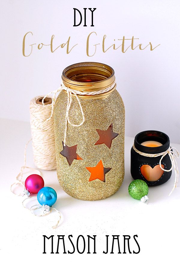 DIY Gold Glitter Mason Jars - Heart Love Weddings