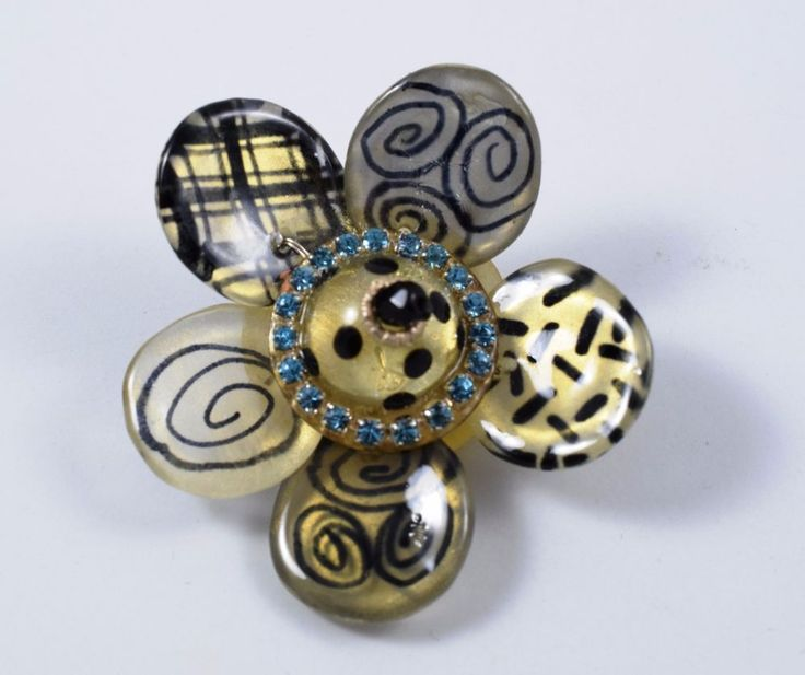ORNA LALO Unique Designer Artisan Handcrafted Resin Rhinestones Flower Brooch  #OrnaLalo