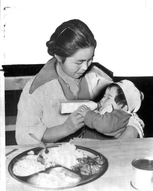 """Page 1 :: """"Good Food and plenty of it is served to the Japanese evacuees at the Santa Anita reception center"""" -- caption on photograph :: Japanese American Relocation Digital Archive, 1941-1946. http://digitallibrary.usc.edu/cdm/ref/collection/p15799coll75/id/1794"""
